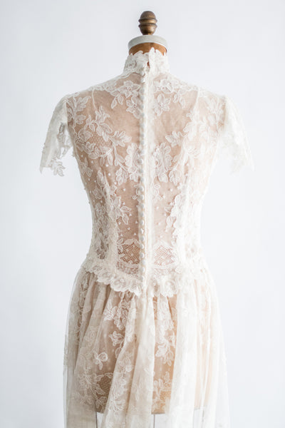 RESERVED 1950s Sheer Lyon Lace Wedding Gown - S