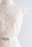 1960s Needle Lace Wedding Gown - S