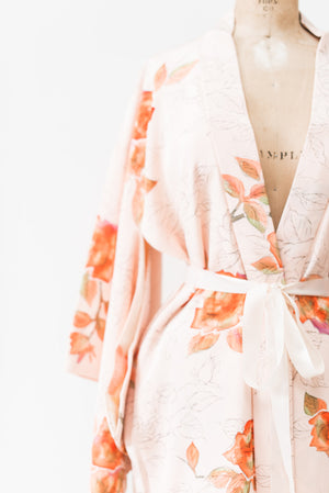 Vintage Pink Silk Kimono with Rose Print - One Size