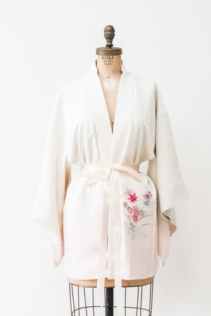 Vintage Ivory Ombre Silk Kimono with Embroidery- One Size