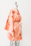 Vintage Peach Silk Kimono with Rose Print - One Size