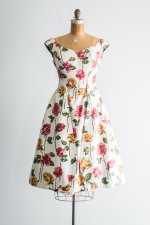 1950s Silk Twill Floral Dress - S/M
