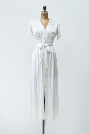 1940s Satin Dressing Gown - S