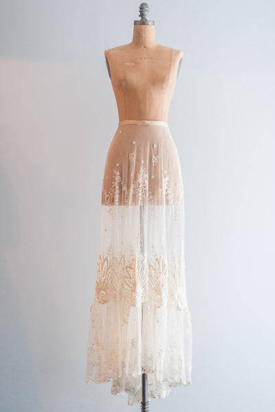 Edwardian Tambour Lace Embroidered Skirt - S