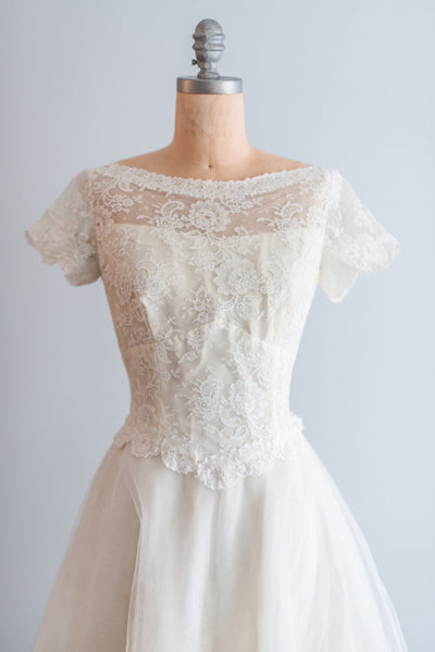 1950's Lace with Tulle Skirt  Dress - S/M