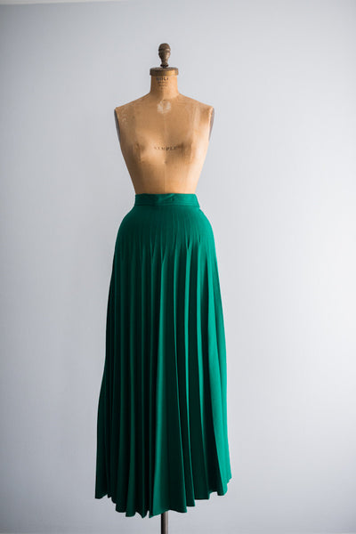 1950s Green Wool Pleated Skirt - XS/S