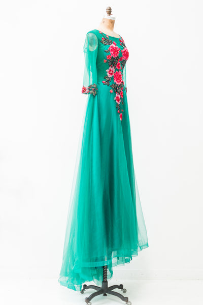 Long Lace Tull Gown with Appliqué - S/M