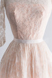 1950s Silk Chantilly Blush Lace Dress - XS