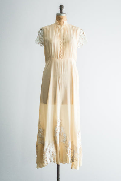1940s Silk Crepe with Embroidered Lace dress - M/L