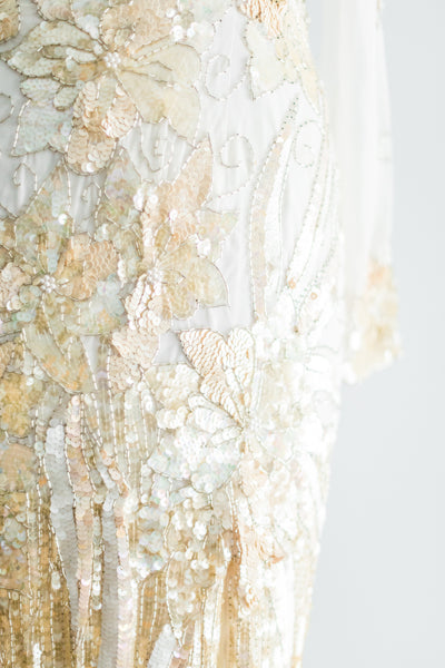 1980s Ivory and Gold Net Beaded Gown - M/L