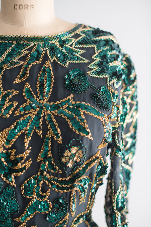 1980s Silk Beaded Deep Green and Gold Top - M/L
