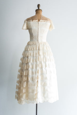 1950s Satin and Silk Lace Dress - XS/S