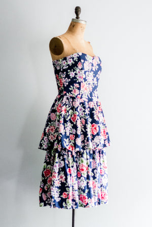 1980s Midnight Tiered Floral Dress - M/L