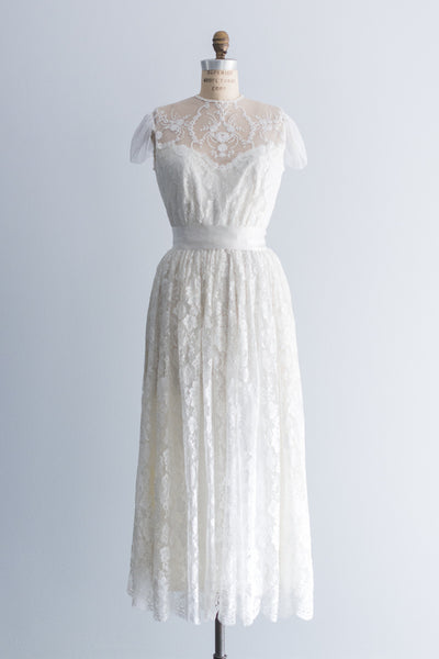 1980s Needle Lace Dress - M
