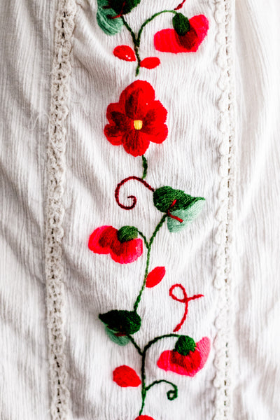 1970s Gauze Linen Floral Embroidered Dress - M