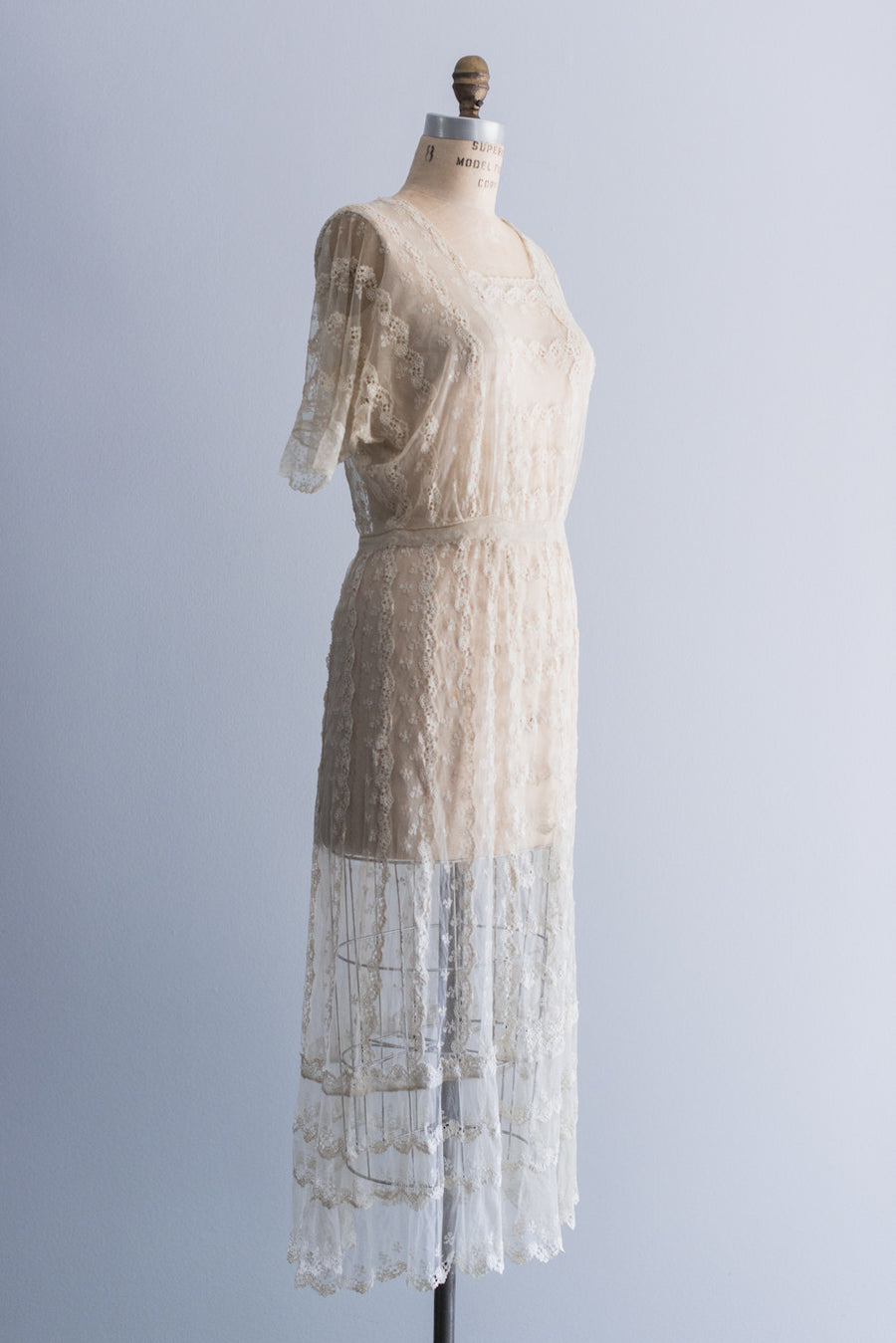 1920s Schiffli Lace Tulle Dress - M/L