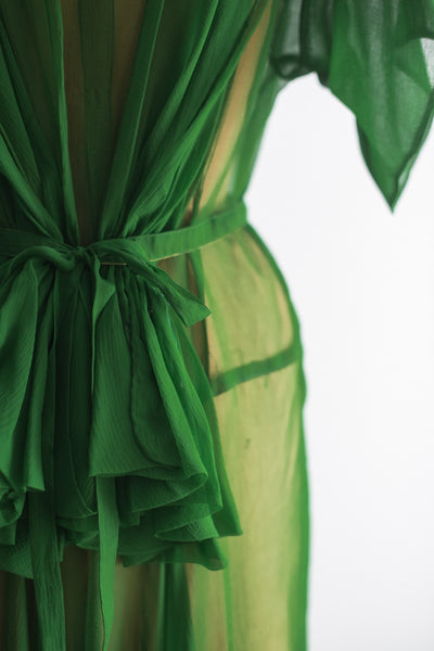 1930s Green Tailored Silk Chiffon Gown - S/M
