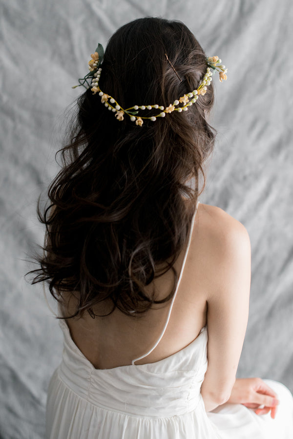 1920s Antique Tiara with Small Wax Buds - One Size