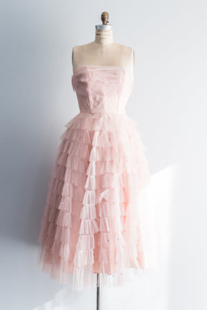 1950s Pink Tulle Party Dress - S