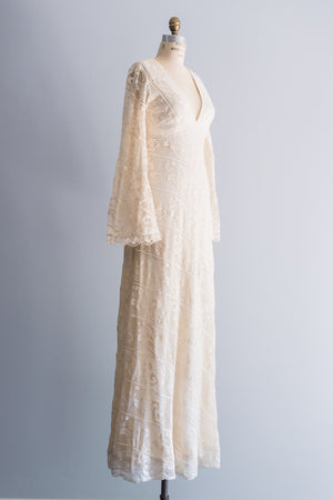 1970s Plunging Boho Crochet Dress - M/L