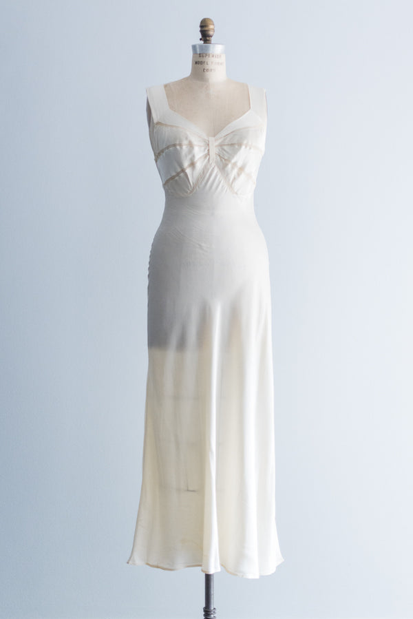 1930s Satin Bias Cut Slip Dress - S/M