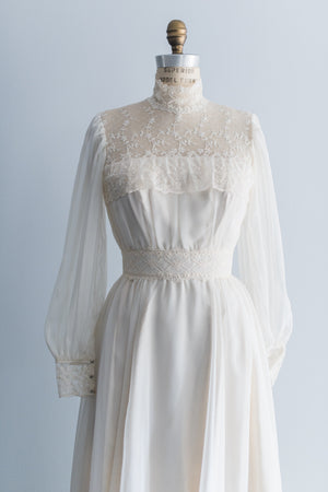 1970s Chiffon Lace Gown - S
