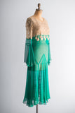 1920s Silk Chiffon and Ecru Lace Flapper Dress - S/M