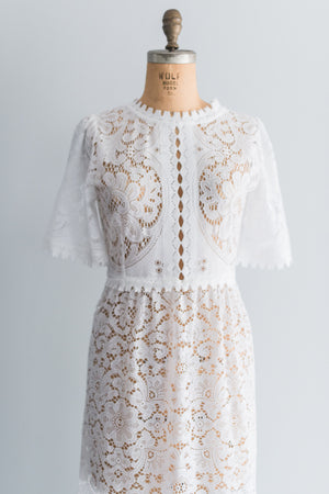 1970s Boho Short Sleeves Dress - M/L