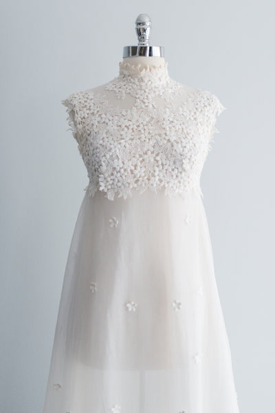 1960s Mod Lace Tulle Dress - XS