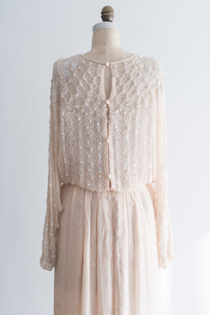 1980s Ivory Beaded Silk Chiffon Gown - S/M