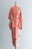 1940s Silk Peach Extra Long Sleeves Kimono - One Size
