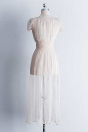 1930s Sheer Silk Night Gown - XS/S