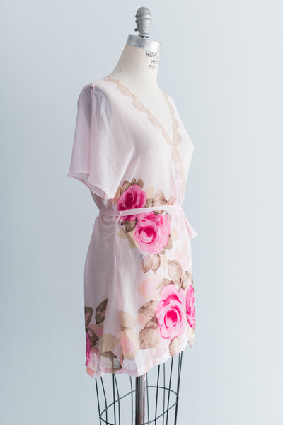 Chiffon Floral Butterfly Sleeves Robe - S/M