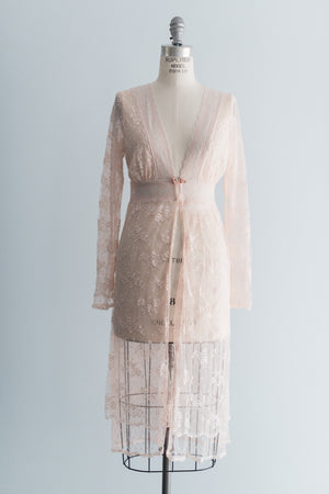 Blush Lace Peignoir - S/M