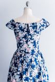 1980s Midnight Floral Dress - S/M