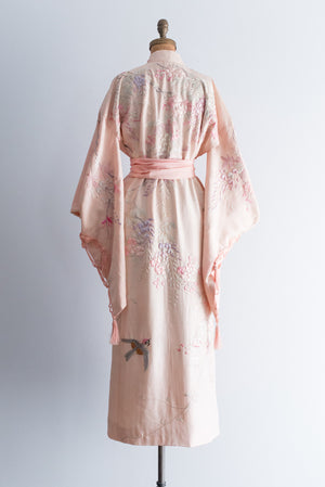 HOLD Antique Pink Textured Silk Embroidered Kimono Robe - One Size
