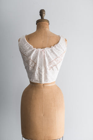Edwardian Embroidered Cotton Camisole - XS/S