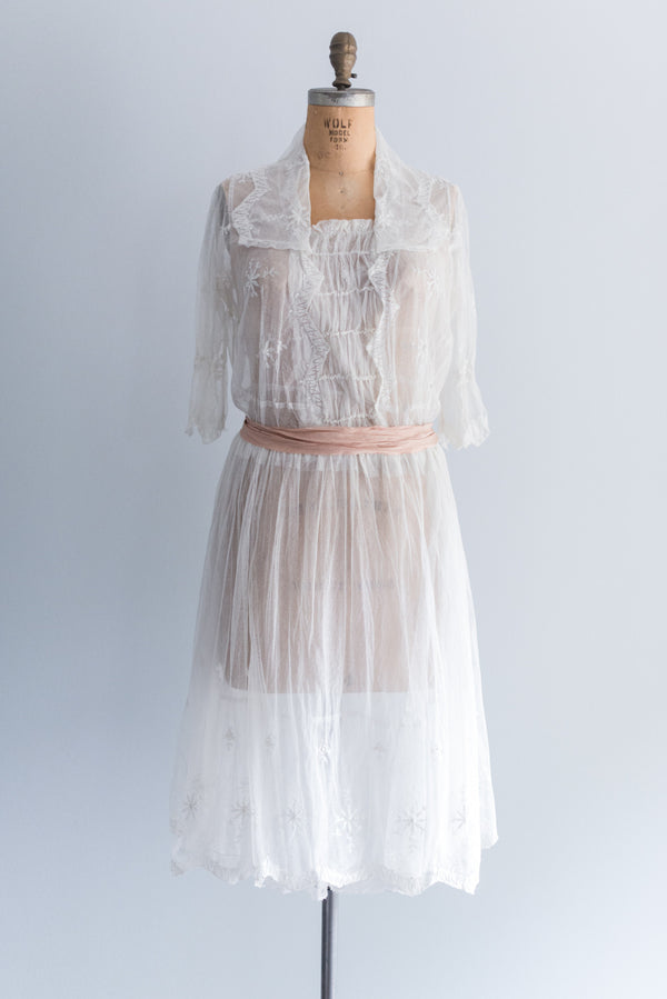 1920's Tulle Lace Flapper Day Dress - M/L