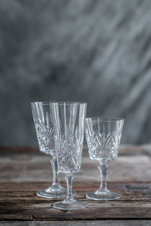 6 Sets of 3-piece Vintage Cut Glass Stemware