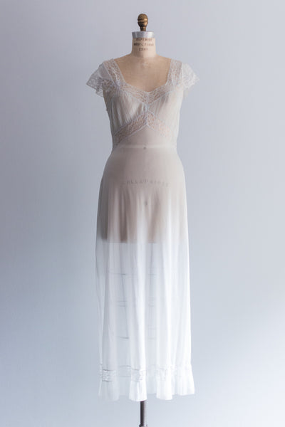 1940s Sheer Nylon Sleeves Nightgown - S/M