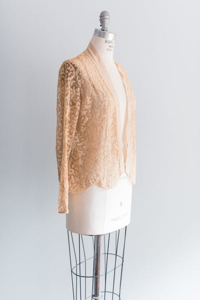 1920's Tea Silk and Needle Lace Jacket - M