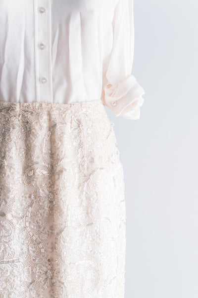 Vintage Beaded Cutout Skirt - L/XL