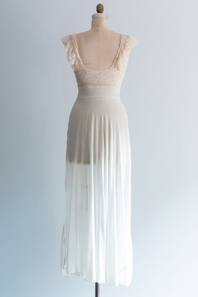 1930s Baby Blue Silk and Valenciennes Lace Slip - S/M