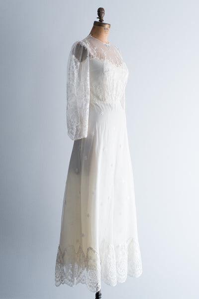 Vintage Needle Lace Gown with Poet Sleeves - XS/S
