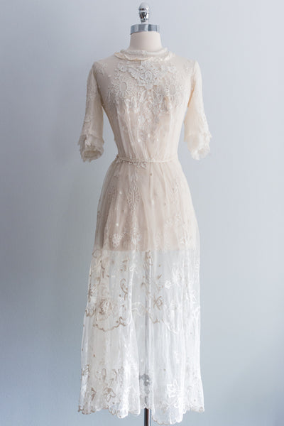 Edwardian Tambour Lace Dress - XS