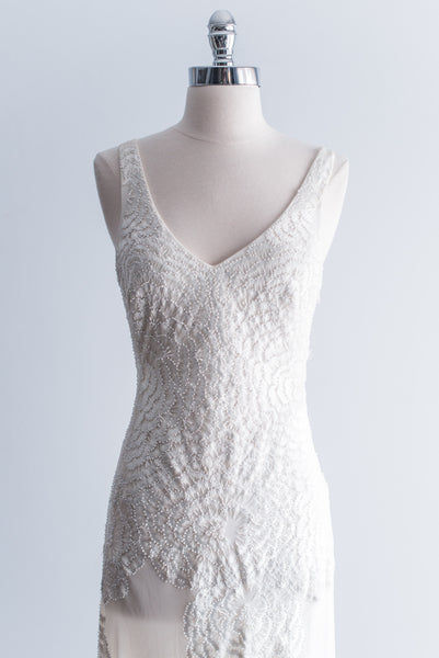Silk V-Neck Embroidered Dress - XS/S