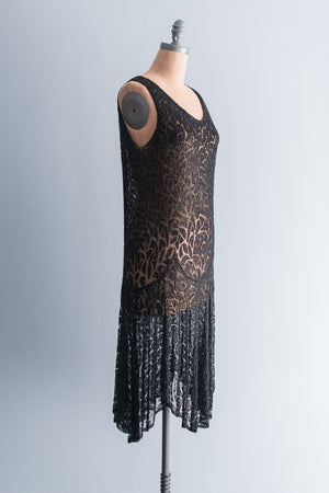 1920's Jet Black Steel Cut Beaded Flapper Dress - S/M