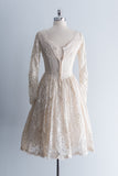1950 Floral Lace Tea-Length Dress - XS