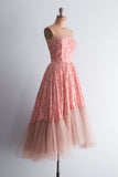 1950s Pink Tulle and Lace Dress - XS