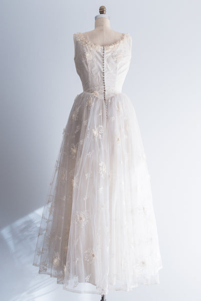 1950s Tulle Gown with Applique - S/M